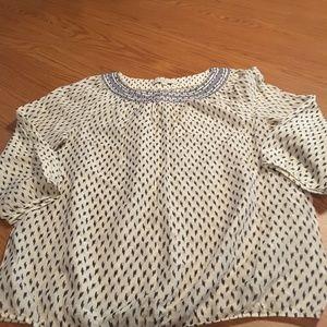 Ann Taylor LOFT white blue blouse 3/4 sleeve